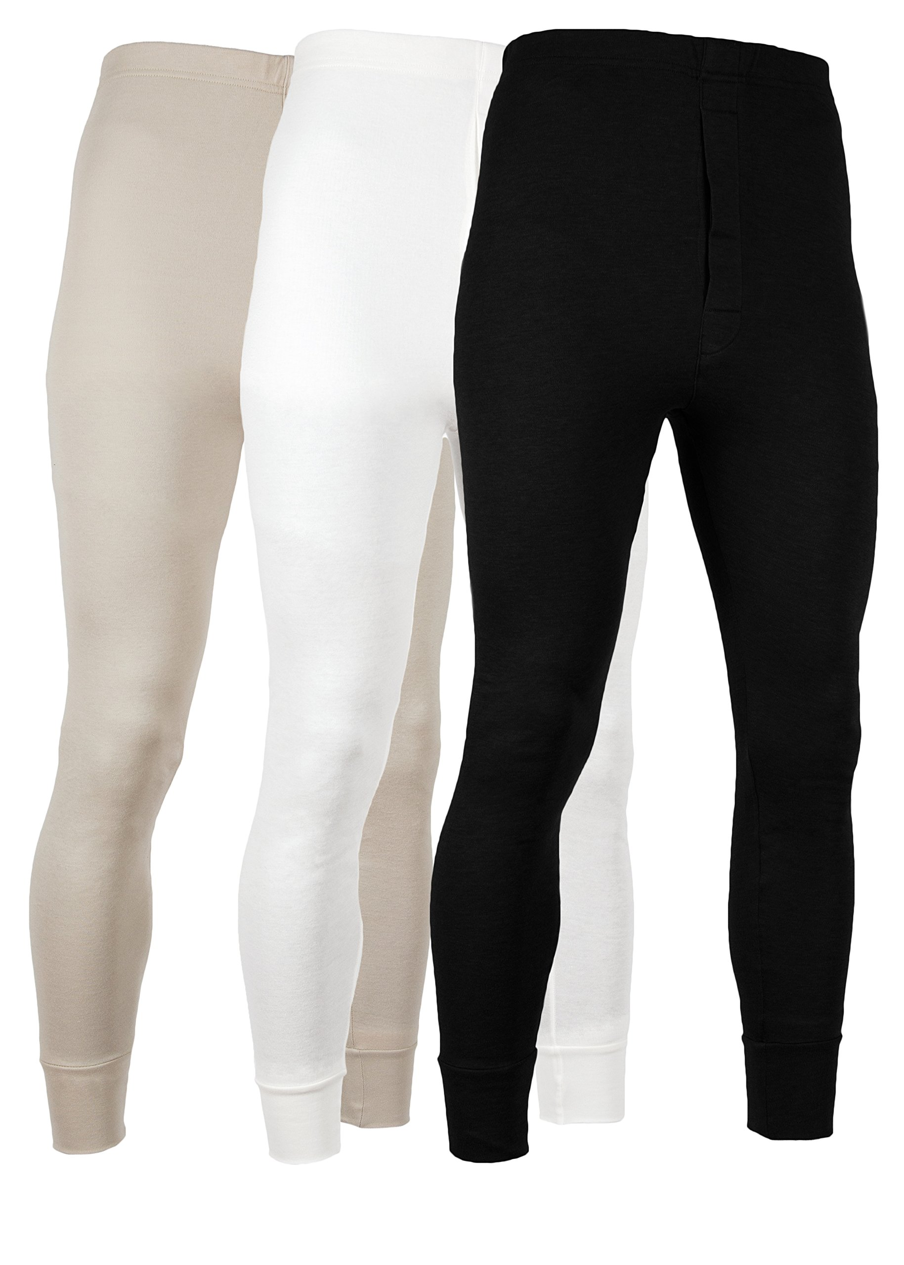 American Active Men's Long Johns Thermal Base Layer Pants 100% Cotton Fleece Lined Underwear -Pack Of 3 (3 Pack- Black/Cream/Sand, Medium)