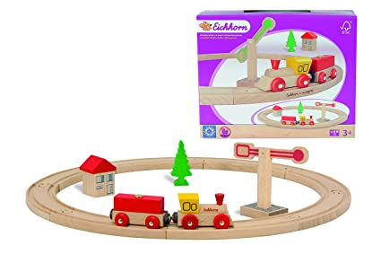 Omni Wooden Toys 18 pcs Railway Track Compatible with Major Brands Rail System