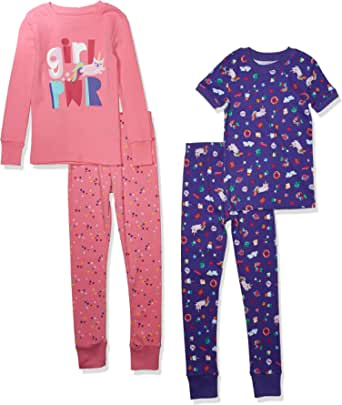 Spotted Zebra Snug-fit Cotton Pajamas Sleepwear Sets Niñas, Pack de 4