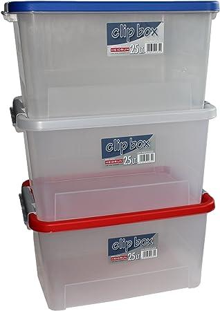 Heidrun 16703 Set Clipboxen 3 Stück Aufbewahrungsboxen, PP, Sonstige 44 x 32 x 23 cm