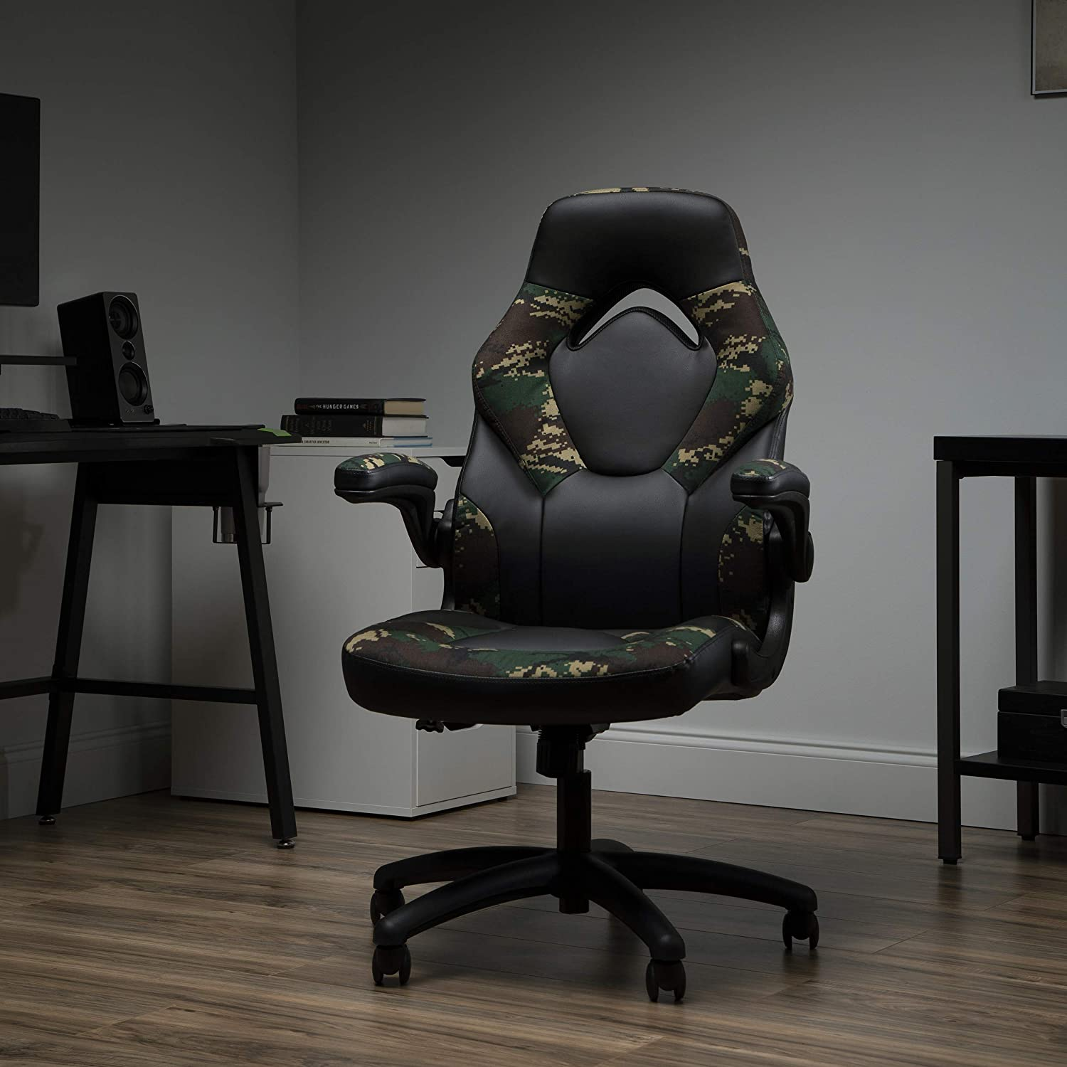 OFM ESS Collection Bonded Leather Gaming Chair, Racing Style, Forest Camo