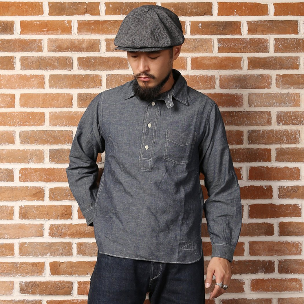 Victorian Men's Shirts- Wingtip, Gambler, Bib, Collarless Bronson 1870S Back To Old Time Pull Over Jumper Linen Cloth Overalls Shirt $39.99 AT vintagedancer.com