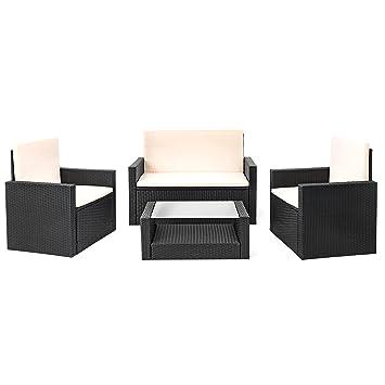 Amazon.de: Estexo® Polyrattan Sitzgruppe Wittigo, Garten Lounge aus ...