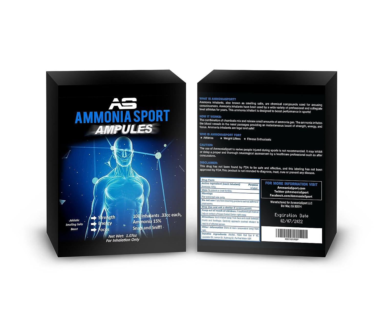 AmmoniaSport Sales olorosas atléticas - Ampollas (100) - Inhalador de  amoniaco -  Inhalantes de Sal amoniaco Que huelen  - Sales aromáticas  (Carbonato de ... c85406aeee704