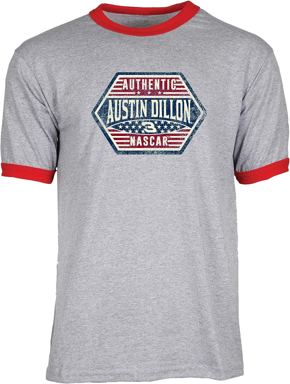 NASCAR Richard Childress Racing Austin Dillon Mens S//S Ringer TS//S Ringer T Athletic Heather//Red XX-Large