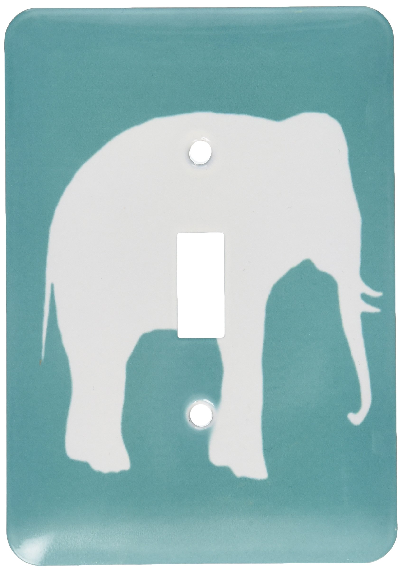 3dRose lsp_164913_1 White Elephant Silhouette Teal Turquoise Aqua Blue Wildlife Animal Light Switch Cover