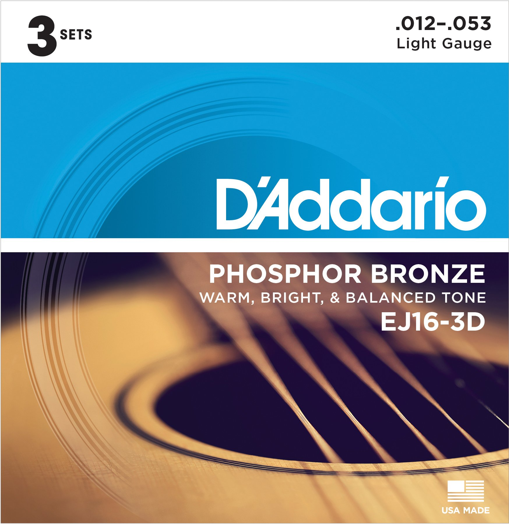 D'Addario EJ16-3D Phosphor Bronze Acoustic Guitar Strings, Light Tension - Corrosion-Resistant Phosphor Bronze, Offers a Warm, Bright and Well-Balanced Acoustic Tone - Pack of 3 Sets by D'Addario