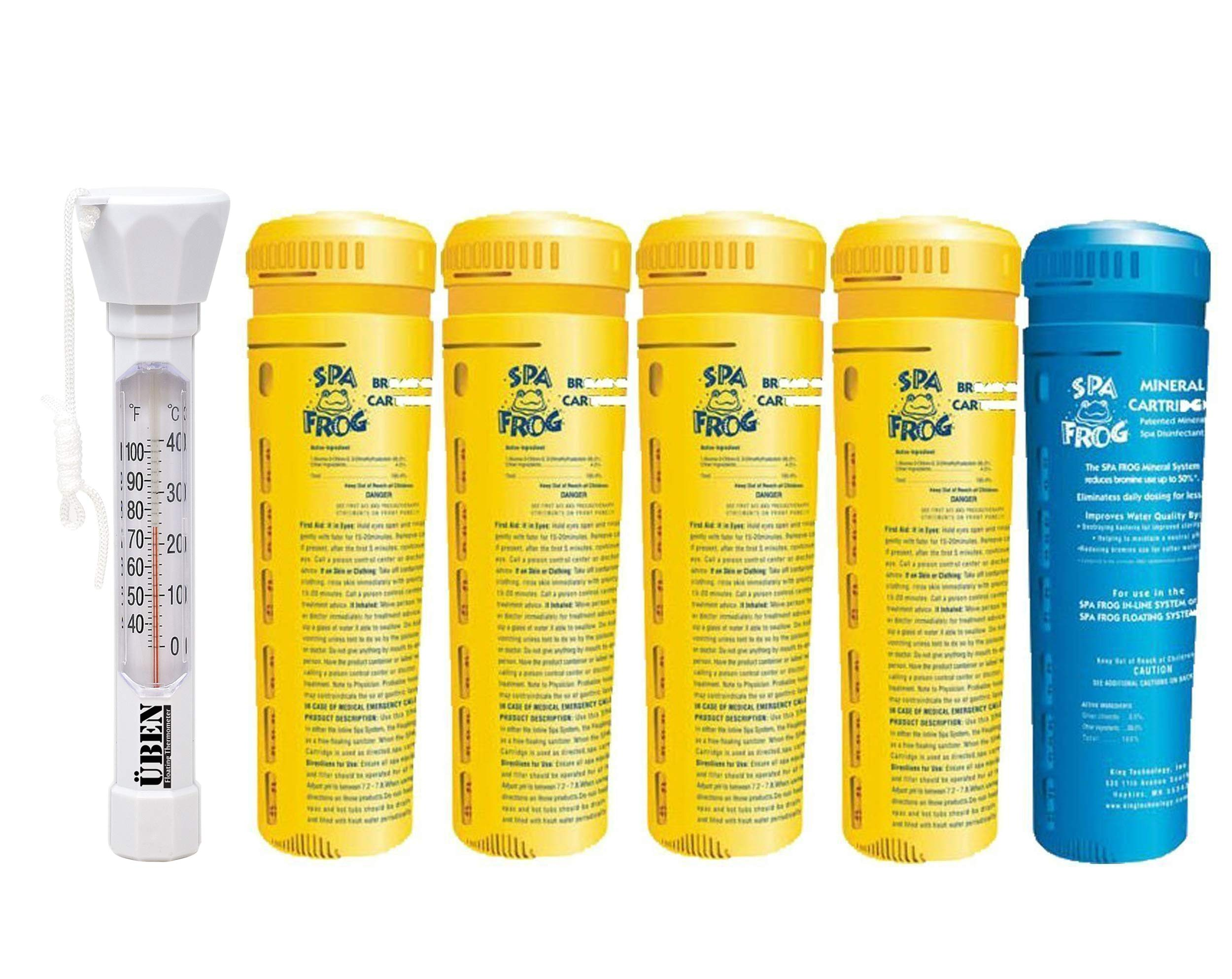 5 pack spa frog replacement cartridges, 4 bromine/ 1 mineral, Bundled with Floating Buoy Üben Pool Thermometer by SPA FROG