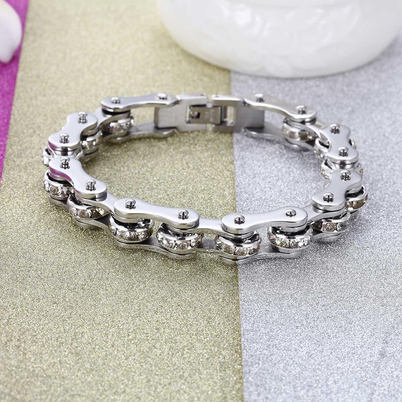NELSON KENT Hommes Bracelet en Zircon Incrust/é en Acier Inoxydable Domineering