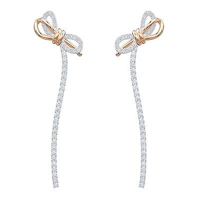 2eed01e98 Swarovski Lifelong Bow Pierced Earrings, White, Mixed plating:  Amazon.co.uk: Jewellery
