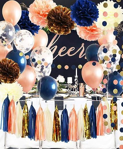 Amazoncom Bridal Shower Decorations Navy Peach Rose Gold Ballons