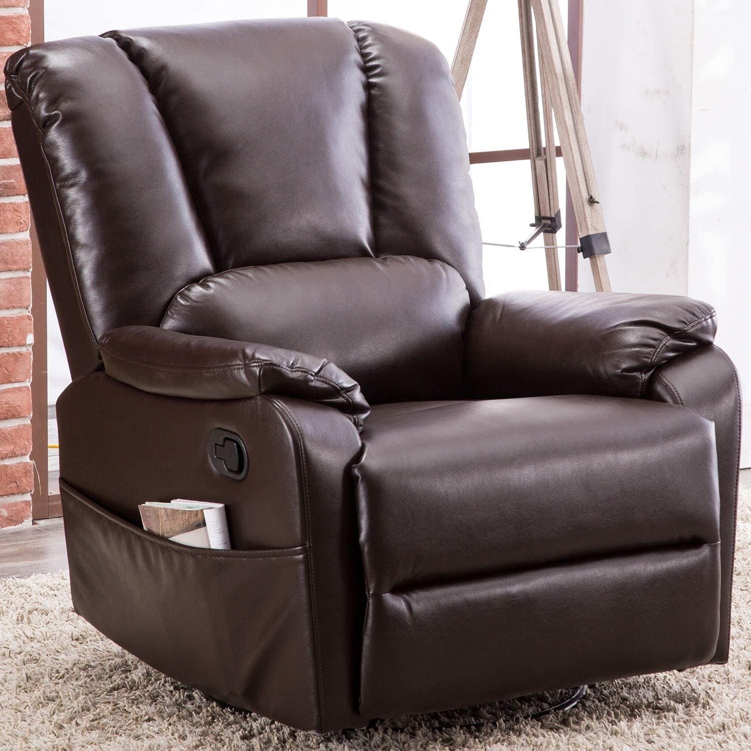 Bonzy Home Air Leather Recliner Chair Overstuffed Manual Recliner Faux Leather 360° Swivel Glider Classic Recliner Chair Home Theater Seating,