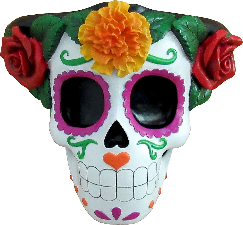 World of Wonders - Fiesta De Muertos Series - Festive Memories - Halloween Decorations Sugar Skull Decorative Floating Wall Shelf Candle Sconce Day of The Dead Mexican Folk Art Home Décor , 9-inch