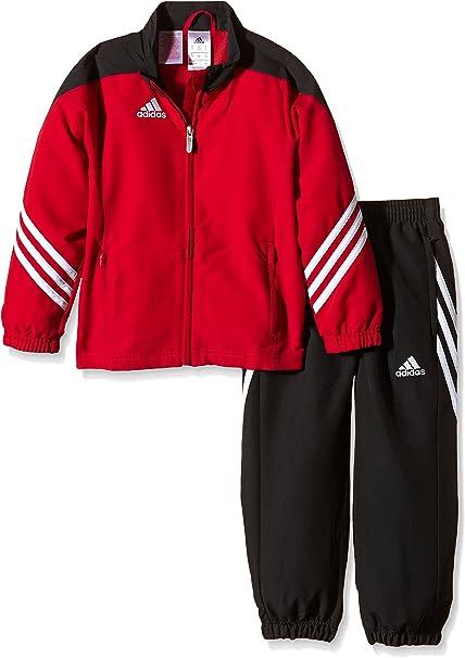 adidas YB TS KN TIB Oh – Kinder Trainingsanzug, rotschwarz