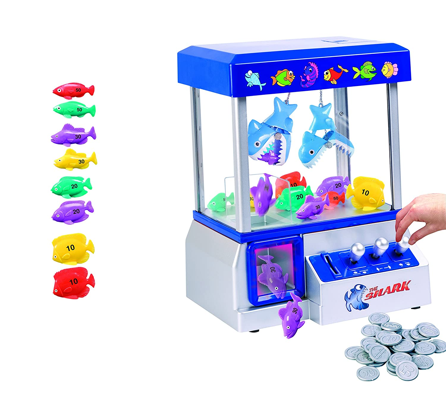 The Shark Arcade Claw Game Machine for Kids of All Ages (includes Tokens) - Crane Toy Game with Candy and Toys – Improves Coordination, Hours of Non-Stop Fun– Includes Carnival Music, and Lights Etna