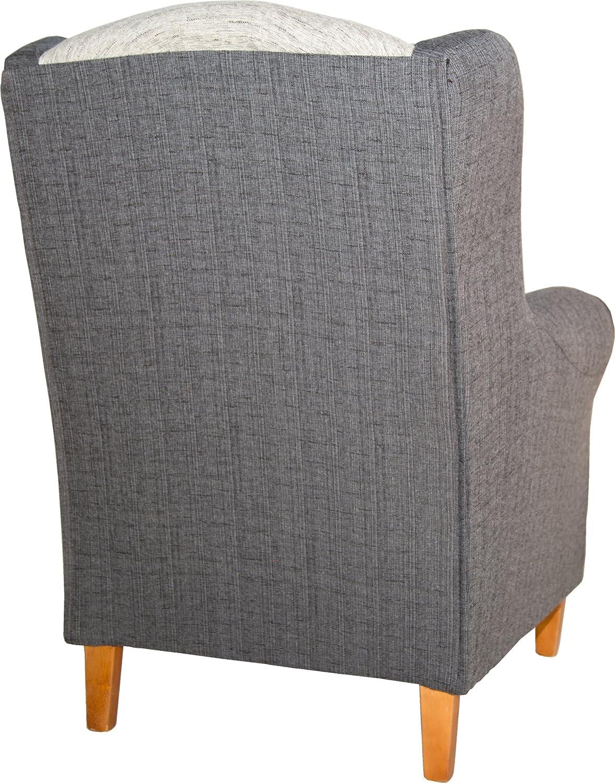 Abitti Sillón butaca orejero. Tapizado Color Blanco y Gris. 104x80x76cm. para salón Comedor o Dormitorio. Envío montado.