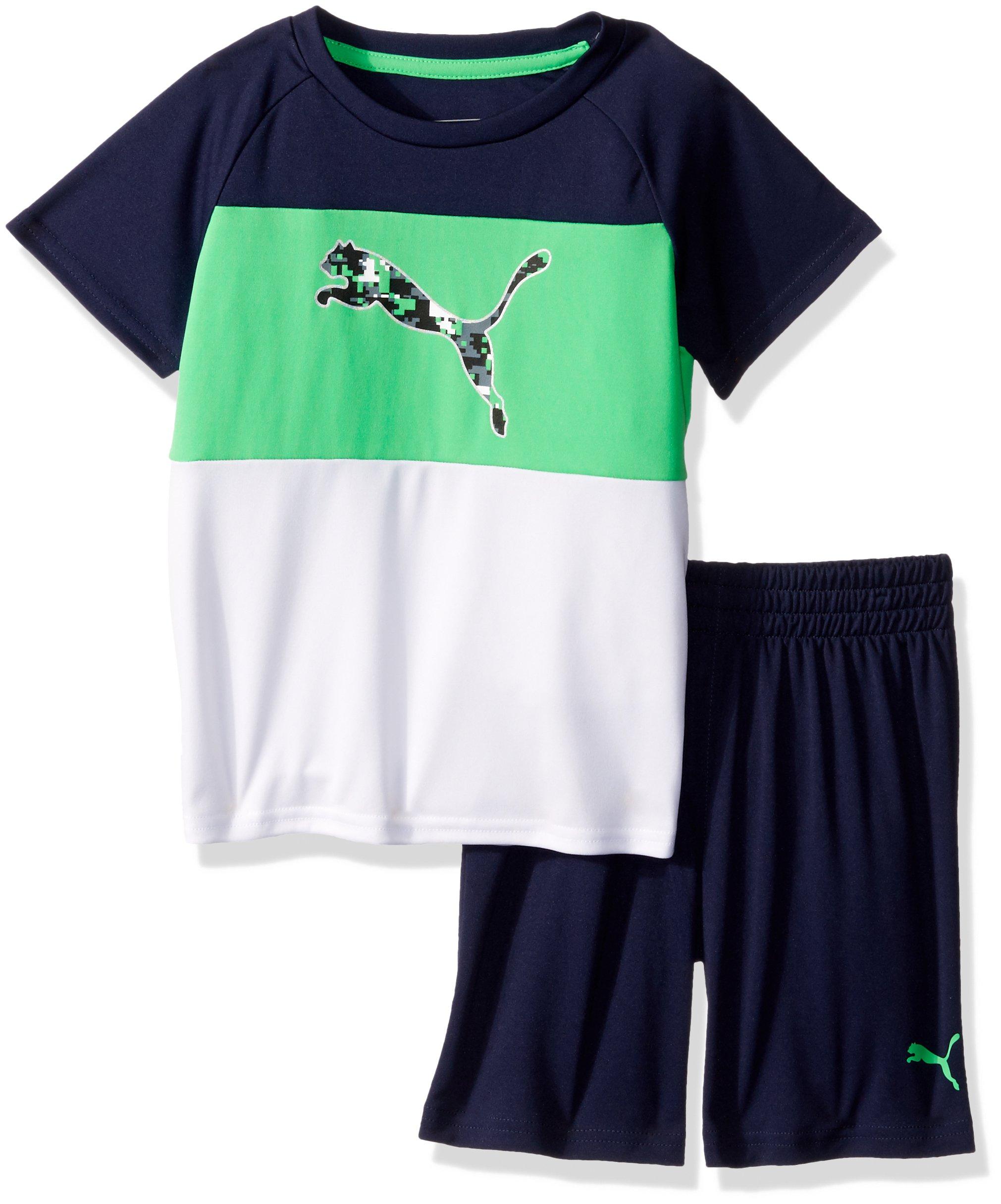 PUMA Toddler Boys' 2 Piece Tee & Short Set, Field Green, 3T
