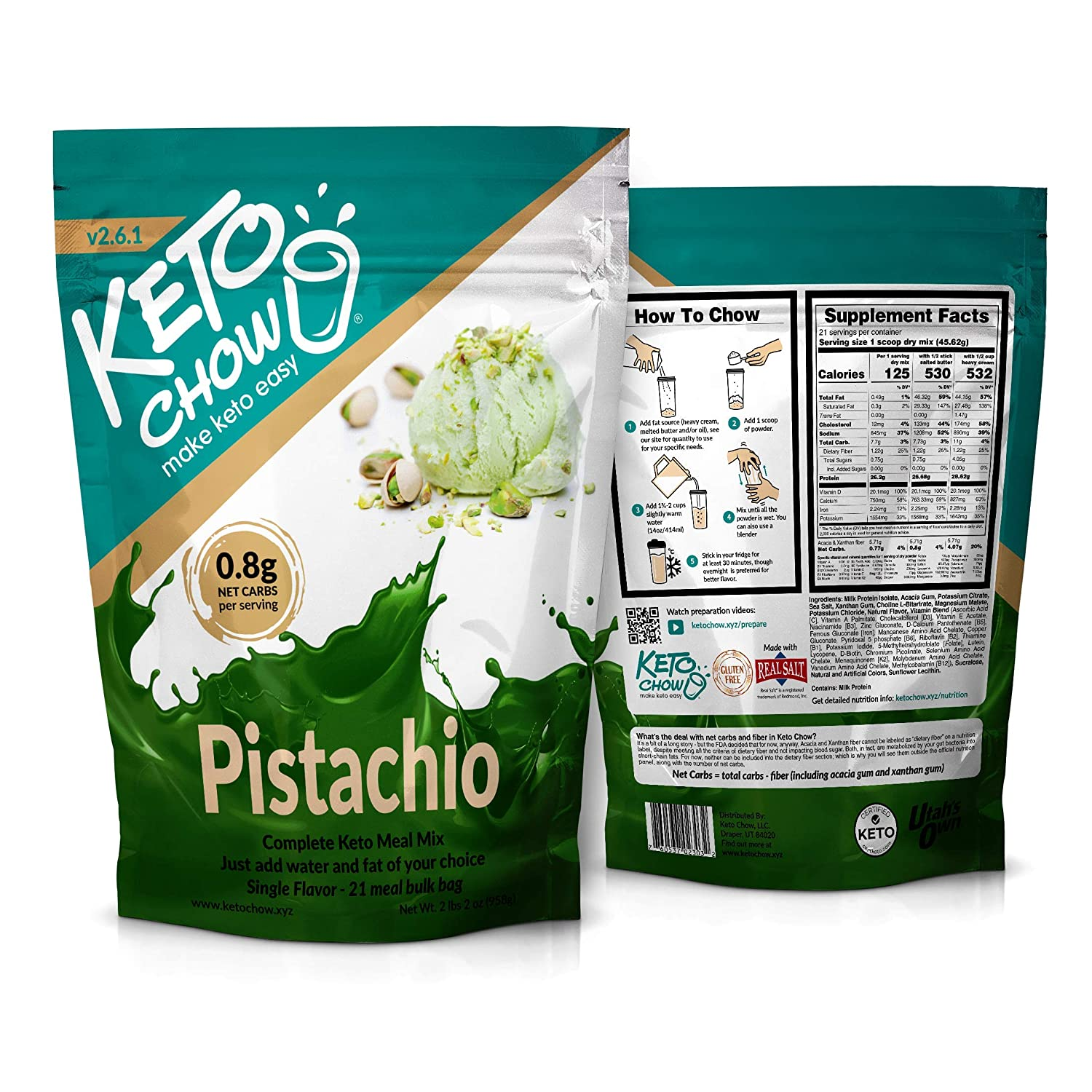 Keto Chow | Keto Meal Replacement Shake | Nutritionally Complete | Low Carb | Delicious Easy Meal Substitute | You Choose The Fat | Pistachio