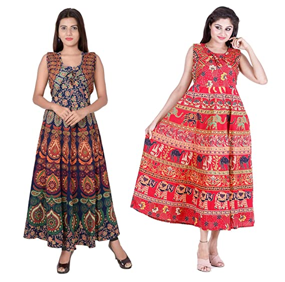88be98ab03 Dhruvi Combo Women`s Long Cotton Maxi Dress Set of 2 Maxi Western Dress  (Free Size, Size-S-XXL): Amazon.in: Clothing & Accessories