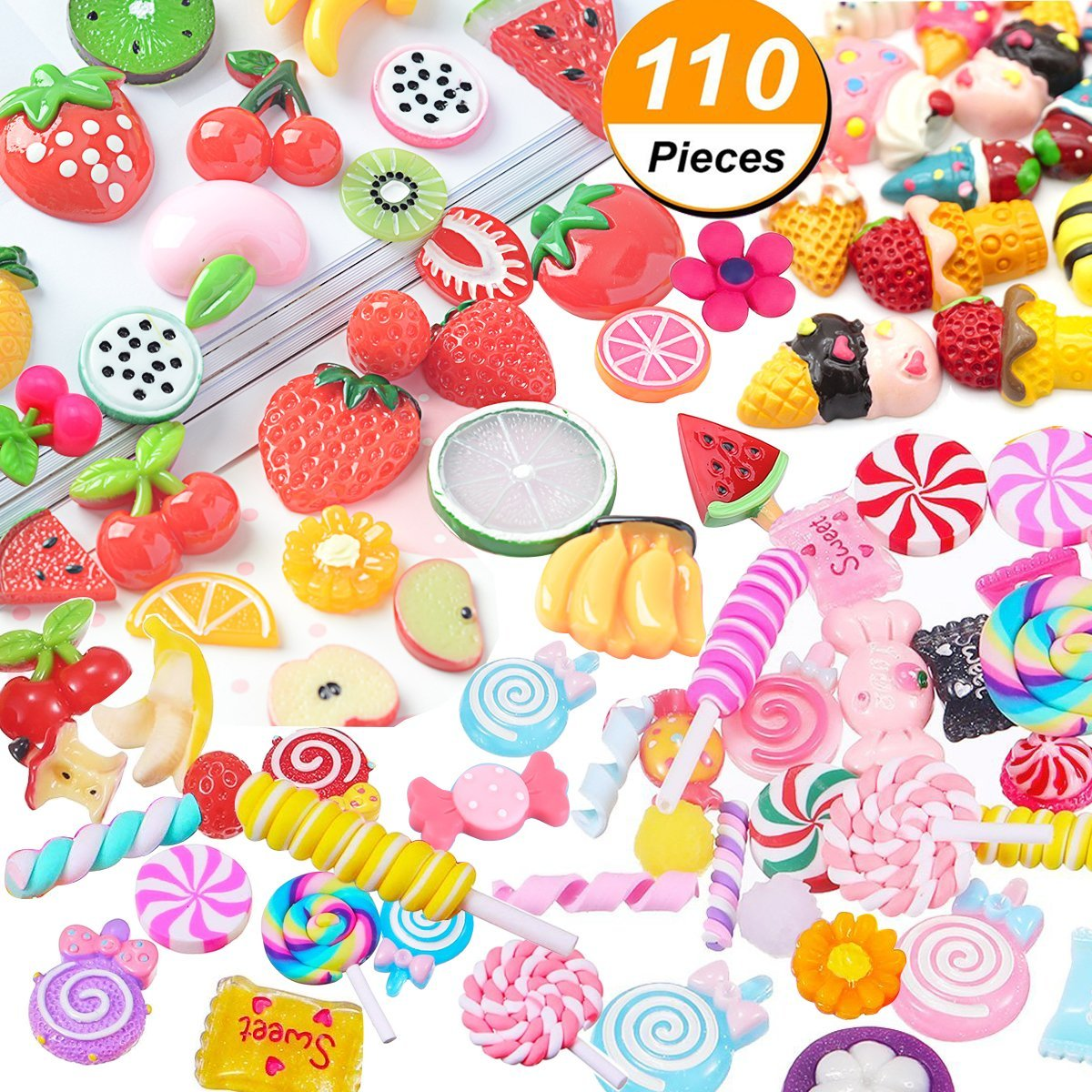 VVLife 110 Pieces Slime Charms Mixed Fruits and Sweets Slime Beads for DIY Crafts Accessories Scrapbooking, DIY Crafts Accessories