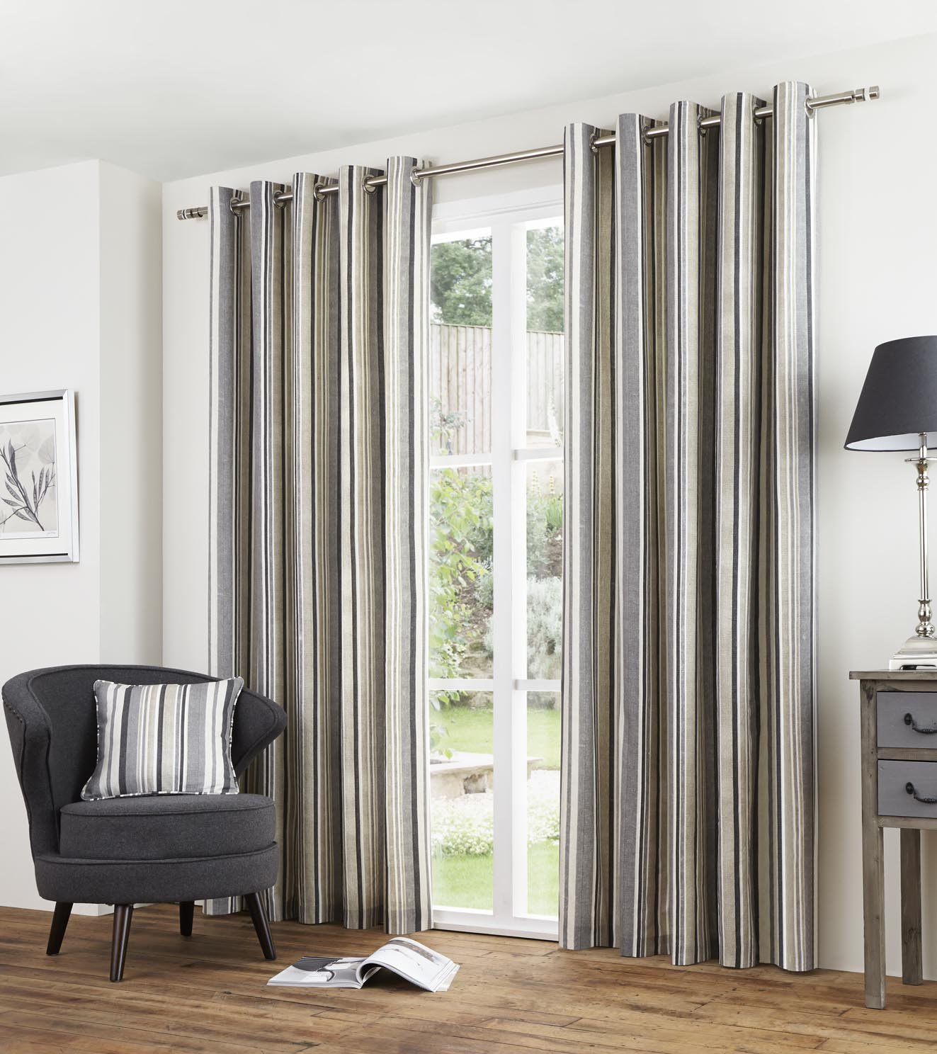 Mason Gray Fusion  Melrose Stripe  Eyelet Header Curtains