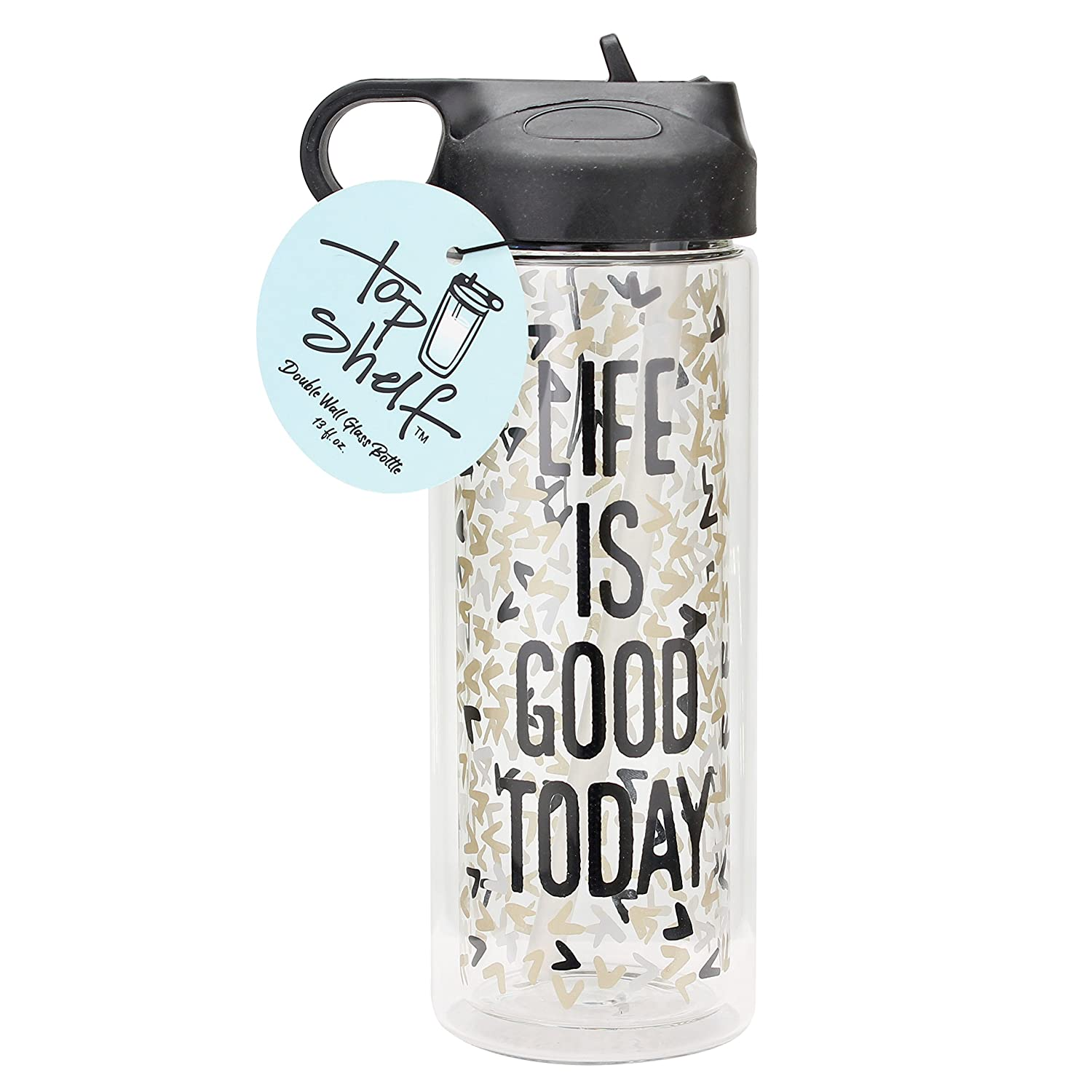 TOP SHELF TS-9728YX Life is good today Glass Double Wall Water Bottle Multicolor 15oz