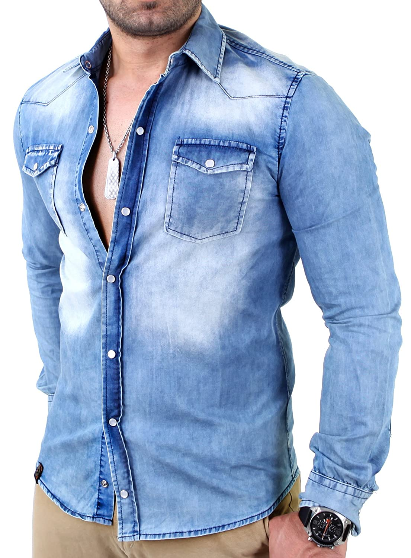 Reslad Jeanshemd Männer Slim Fit Vintage Herren Denim-Hemd Waschung Blau | Freizeithemd  Blaue Denim Hemden RS-7109 Blau S: Amazon.de: Bekleidung