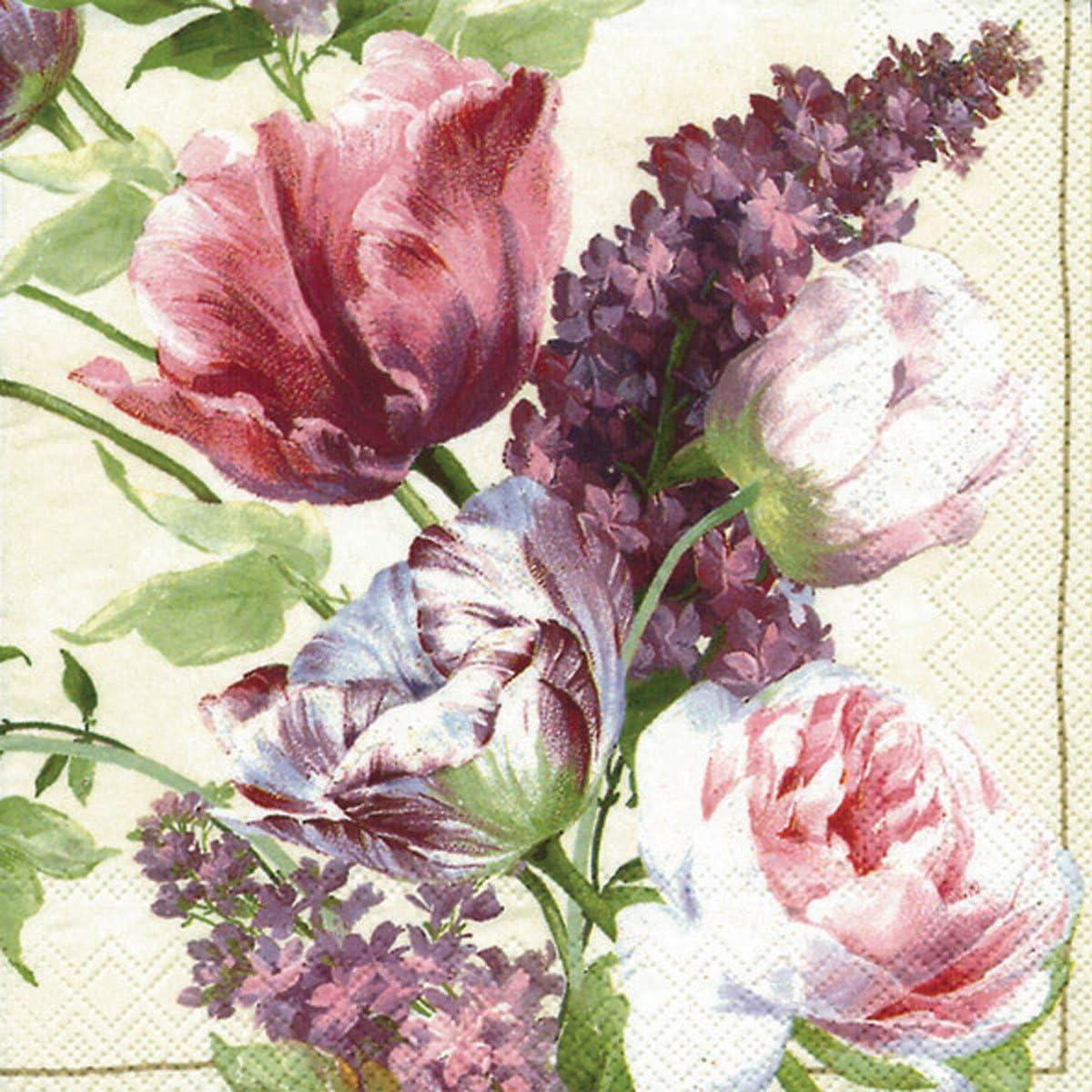 Ideal Home Range 20 Count Paper Luncheon Napkins, Elizabethan Garden Cream