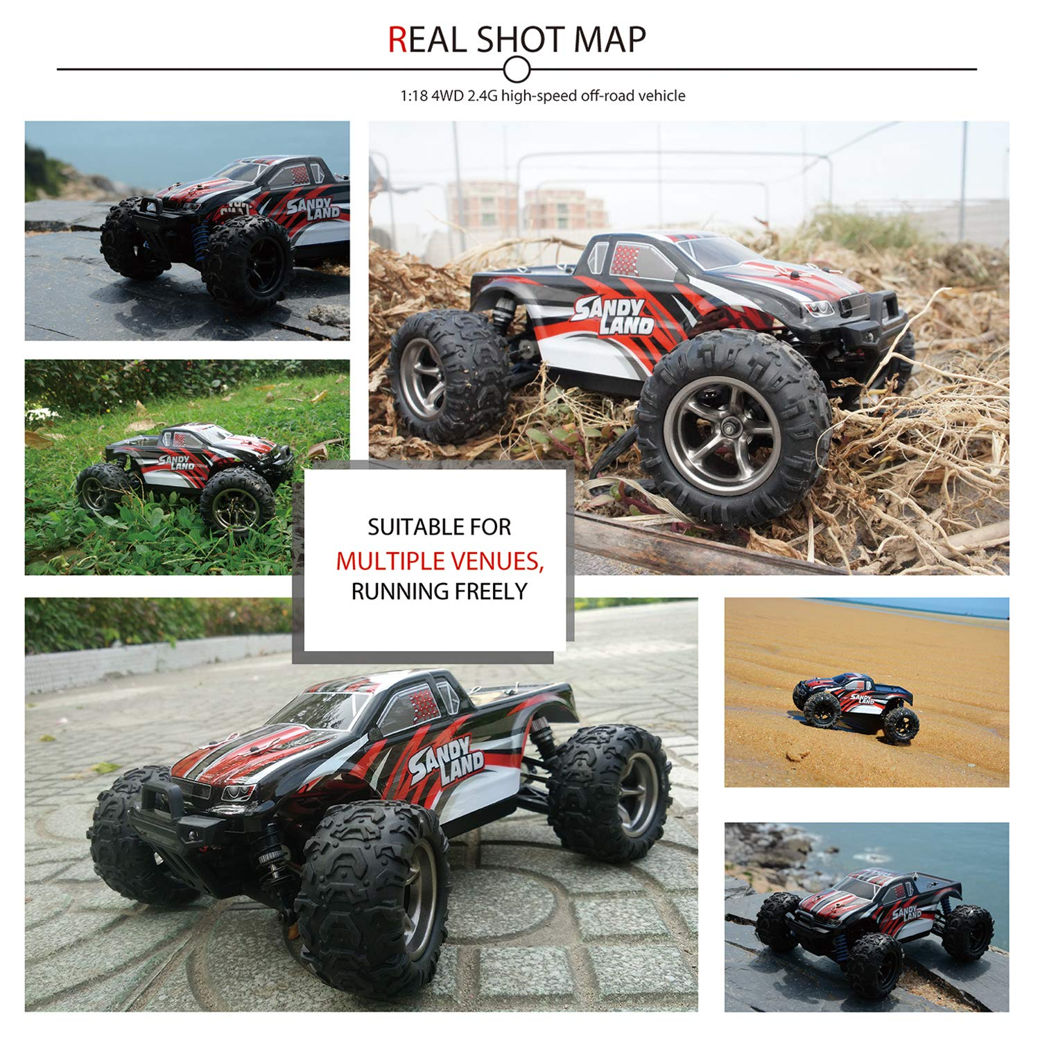 EXERCISE N PLAY RC Car, Remote Control Car, Terrain RC Cars, Electric Remote Control Off Road Monster Truck, 1:18 Scale 2.4Ghz Radio 4WD Fast 30+ MPH RC Car, with 2 Rechargeable Batteries by EXERCISE N PLAY (Image #4)