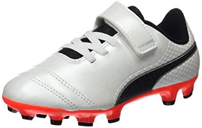 One 17.4, Chaussures de Football Homme, Blanc (White-Black-Fiery Coral), 41 EUPuma