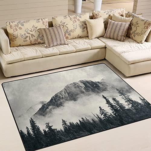 ALAZA Foggy Mountain Forest Landcape Nature Area Rug Rug