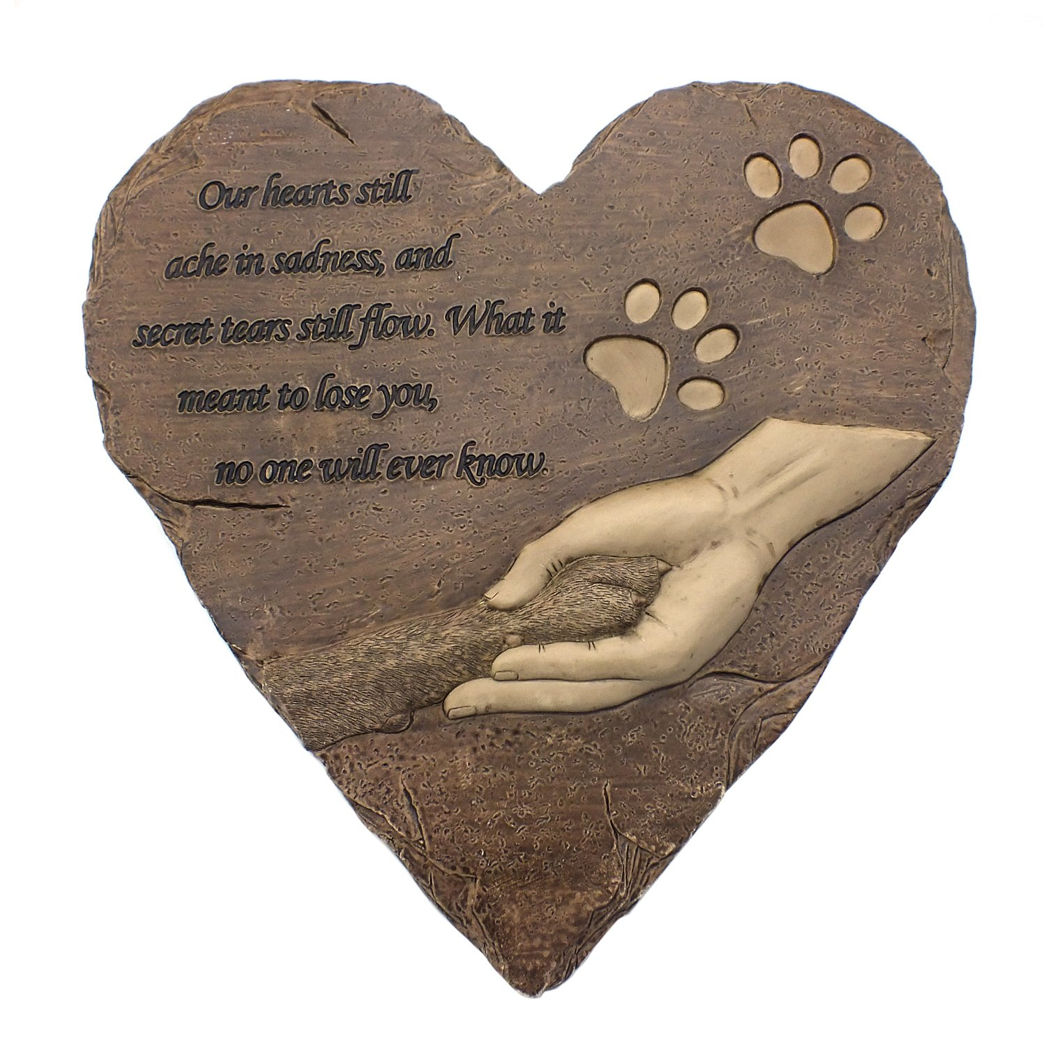 izery Pet Memorial Stones, Engraved Memorial Small Heart Garden Decoration Stone, Garden Stepping Stone - Pet Footprint, for Garden Decor Dog or Cat, Garden Backyard Marker Pets Grave Tombstone