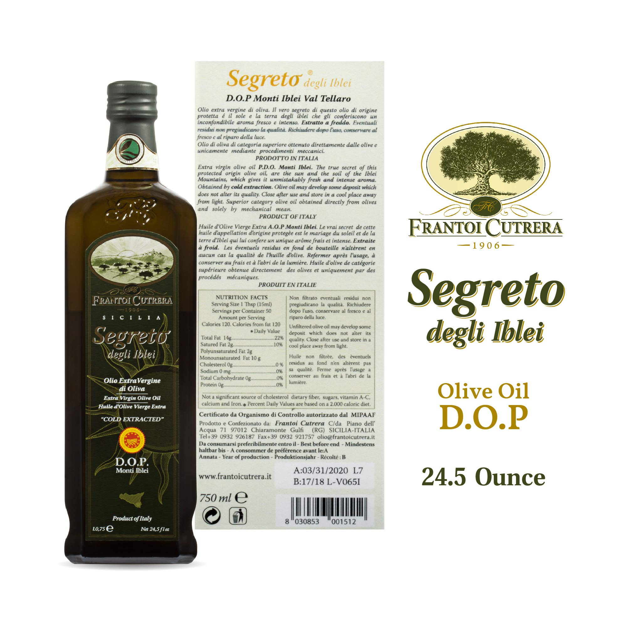 Frantoi Cutrera Segreto Degli Iblei Cold Extracted Extra Virgin Olive Oil D.O.P - Product of Italy, 24.5fl.oz (2 pack) by Frantoi Cutrera (Image #2)