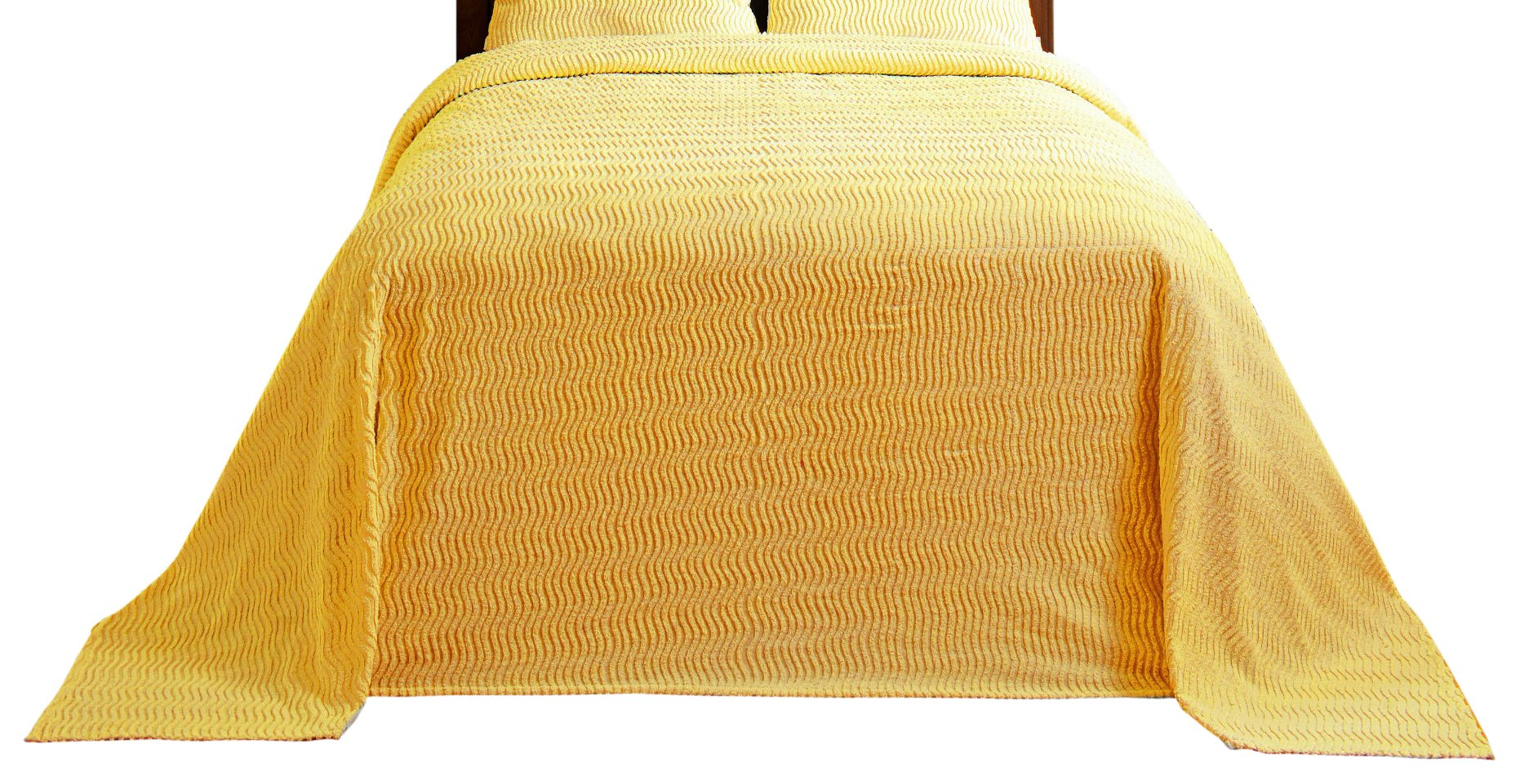 Better Trends / Pan Overseas Natick Chenille Bed Spread 96''X110'' Bedspread, Double, Yellow