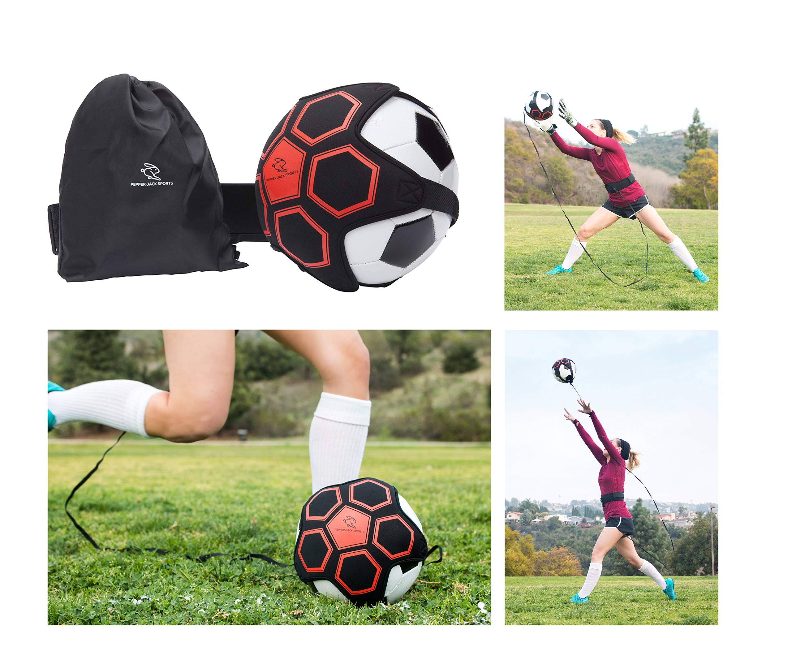 Pepper Jack Sports - Hands Free Solo Soccer Trainer | Indoor & Outdoor Self Practice with Adjustable Waist Belt for Kids & Adults | Boost Control Skills & Accuracy | Bonus Carry Bag