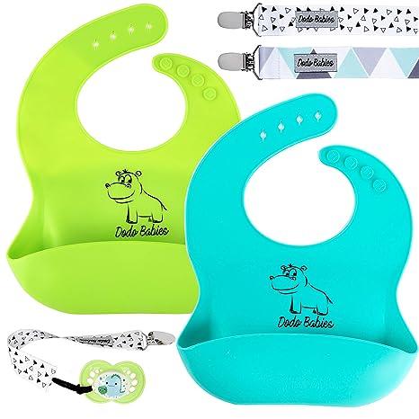 Amazon.com: Dodo Babero de silicona para bebé + 2 clips para ...