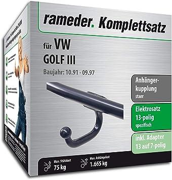 rameder Juego completo, remolque fijo + 13POL Elektrik para Volkswagen Golf III (113011 - 00505 - 1): Amazon.es: Coche y moto