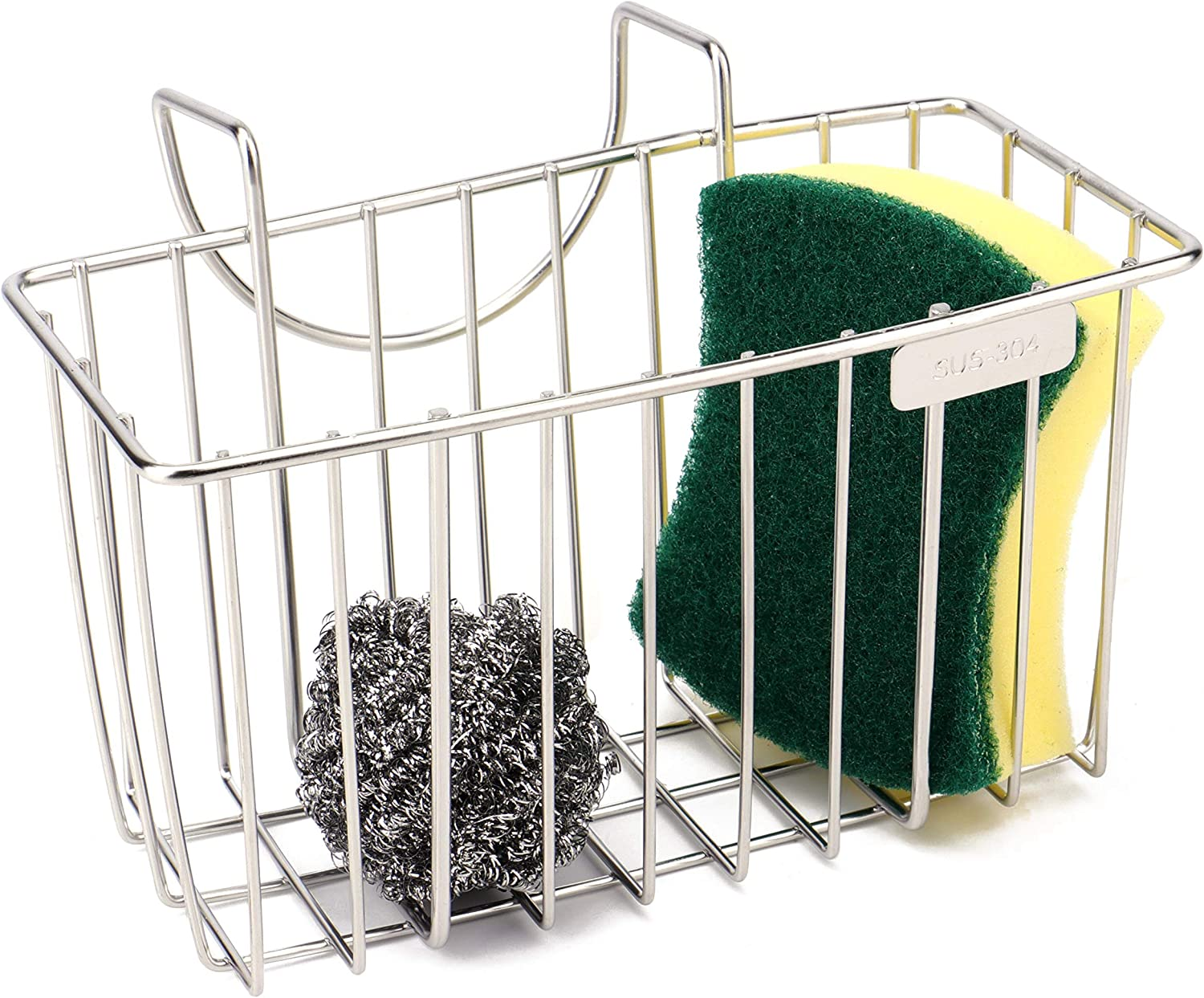 Kitchen Sponge Holder - Sink Organizer Caddy - Dishwashing Liquid Drainer Soap Scrub Brush Rack - Stainless Steel
