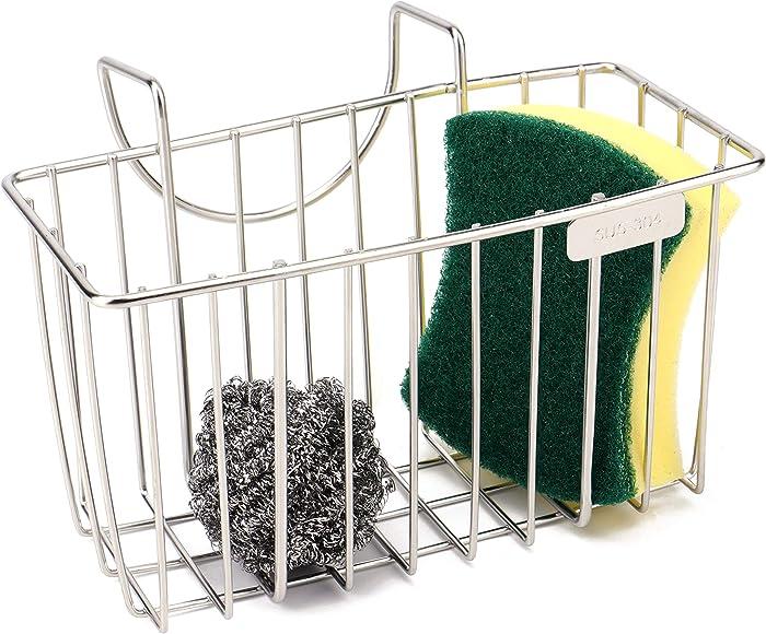 Kitchen Sponge Holder - Sink Organizer Caddy - Dishwashing Liquid Drainer Soap Scrub Brush Rack - Stainless Steel
