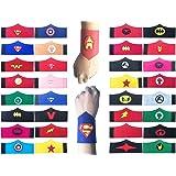 Yibaoo 32 Pack Superhero Bracelet for Kids Boys & Girls Superhero Birthday Party Supplies Favors,Superhero Felt Bangle,Wristband Accessories Wrist Strap