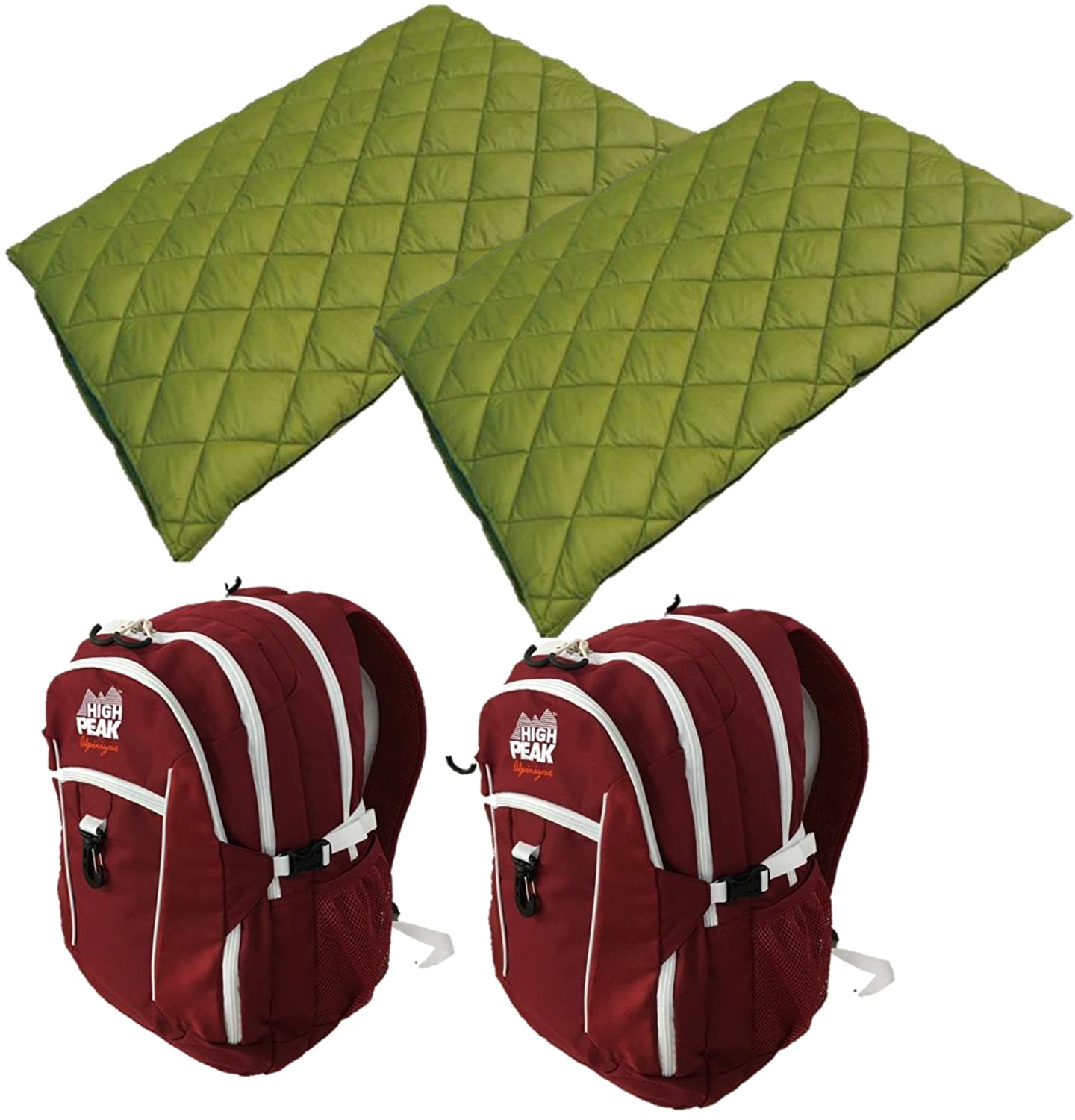 Alpinizmo High Peak USA 2 Vector 38 Backpacks Red 2 Florida 20 Sleeping Bags Combo, Red Green, One Size