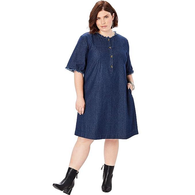 Roamans Women\'s Plus Size Denim Shirt Dress