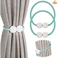 Pinowu Magnetic Curtain Tiebacks Convenient Drape Tie Backs (2 Pack) - Pearl Decorative Rope Holdback Holder for Small, Thin or Sheer Window Drapries