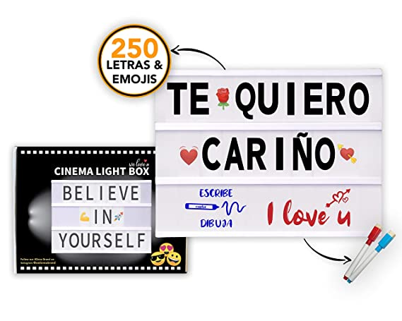 Caja de Luz LED A4 con 250 Letras Símbolos Emojis, 2 Marcadores Borrables y 20 Tarjetas Extras, Cable USB | Letras Ñ Ç Ä Ö Ü ß | Cinema Light Box ...