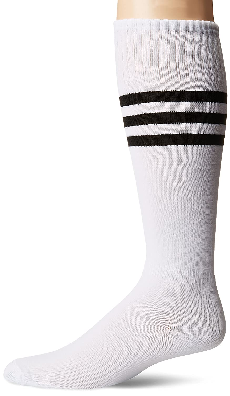 3street ユニセックス ニーハイ トリプルストライプ アスレチック サッカー チューブ ソックス 2 / 6 / 10組 B01GH35Z4E White+Black Stripe White+Black Stripe