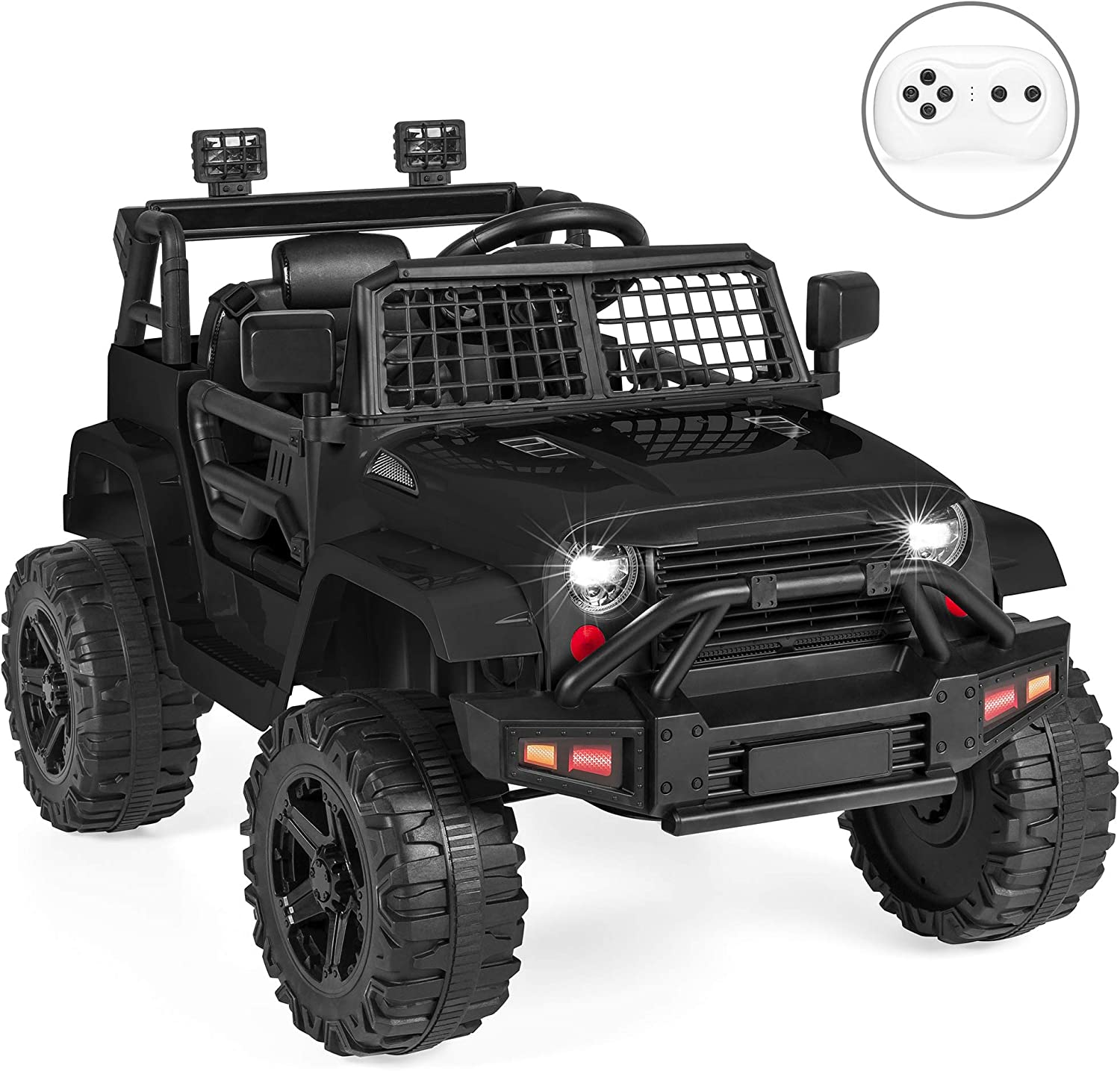 12V parent Remote Control car, Spring Suspension, LED Lights – Black