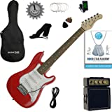 Stretton Payne 1/2 Size Electric Guitar with practice amplifier, padded bag, strap, lead, plectrum, tuner, spare strings. Guitar in Red