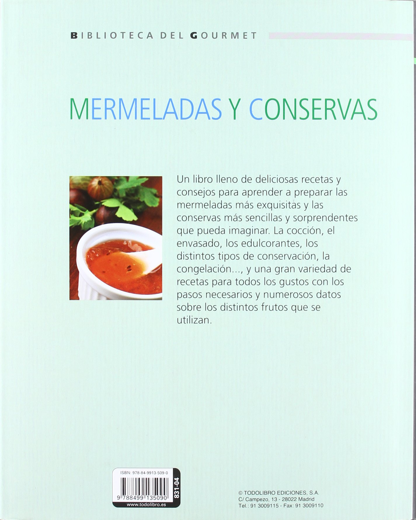 Mermeladas y conservas (Biblioteca del gourmet): Amazon.es: Todolibro: Libros