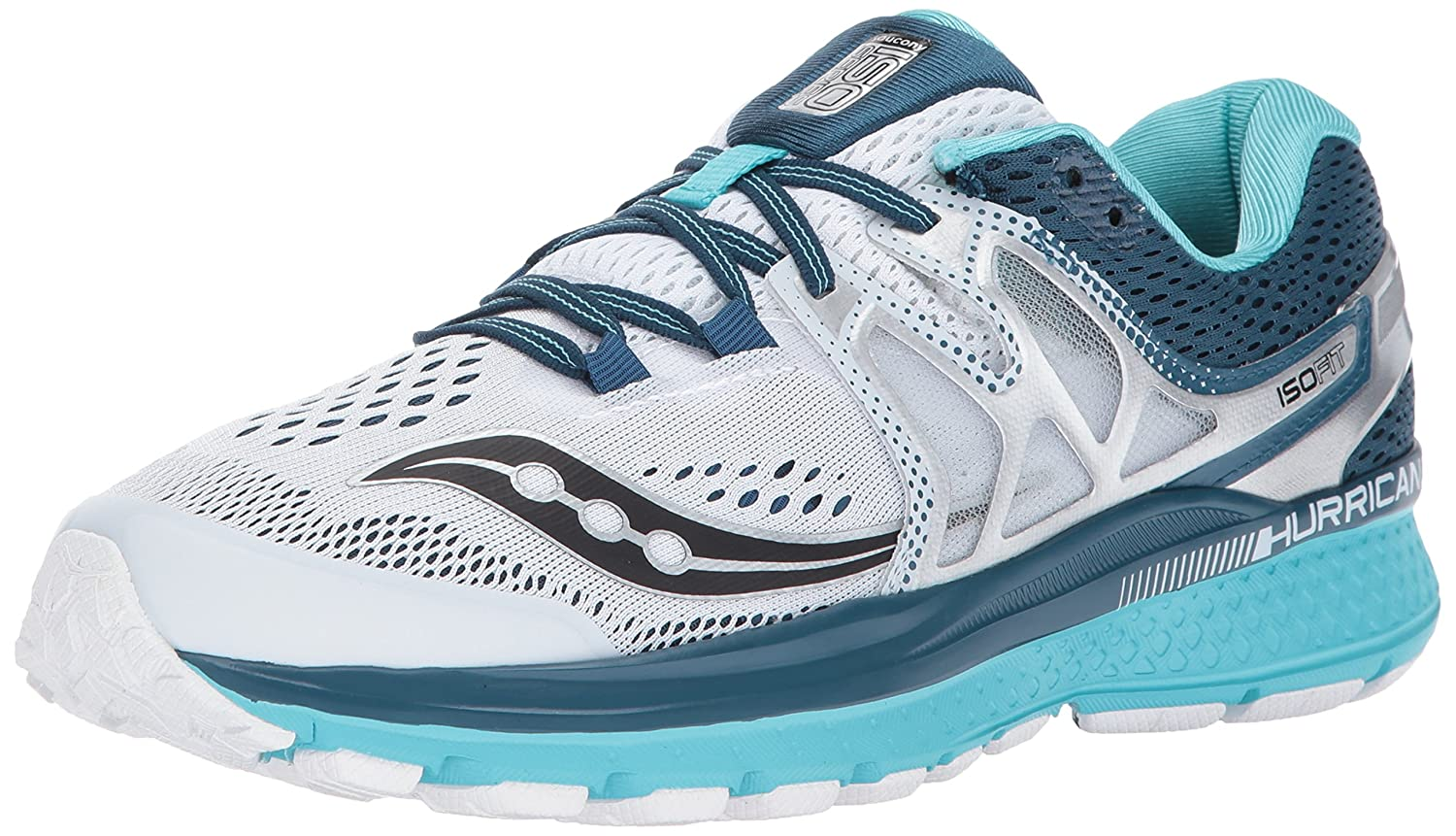 Saucony Women's Hurricane ISO 3 Running Shoe B01N7KW63F 6.5 B(M) US|White Teal