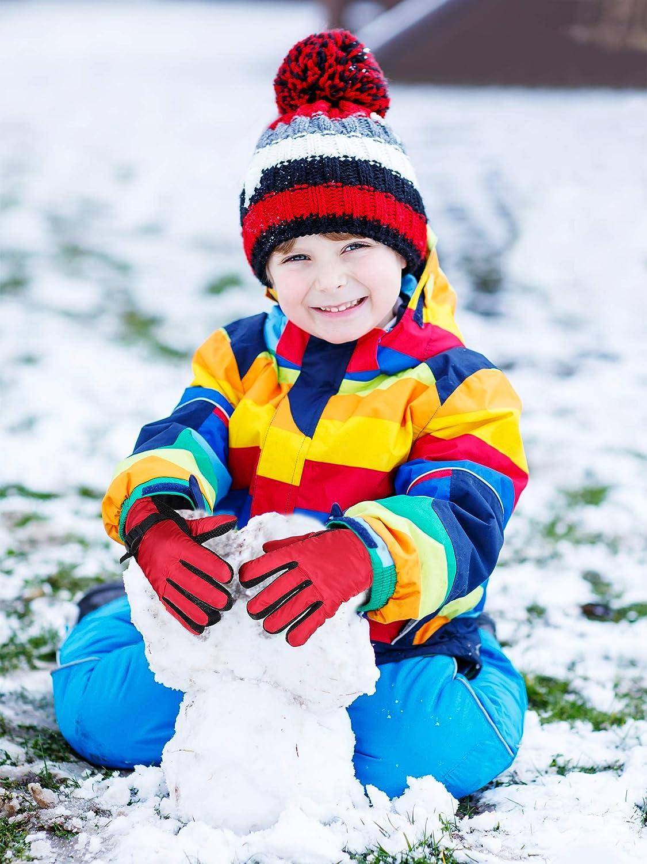 Guantes de Nieve para ni/ños Guantes de esqu/í Impermeables para Deportes de Invierno para ni/ños peque/ños con Hebilla Ajustable para ni/ñas y ni/ños